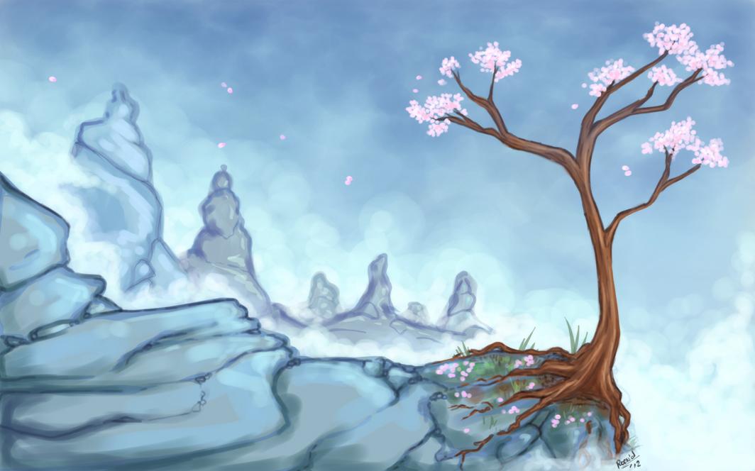 Drawn sakura blossom landscape Blossom Mountain by Mountain Cherry
