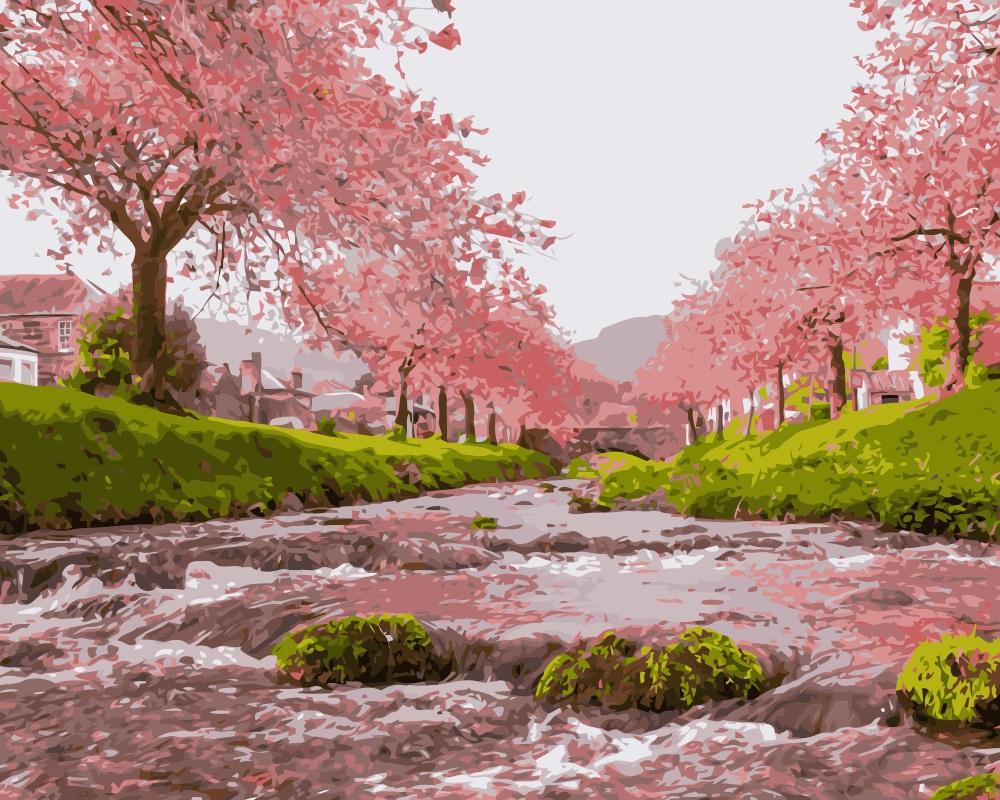 Drawn sakura blossom landscape Buy landscape painting landscape pink