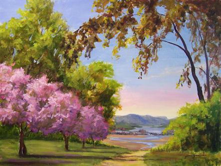 Drawn sakura blossom landscape Trees 18x24 Blossom Hudson 4501
