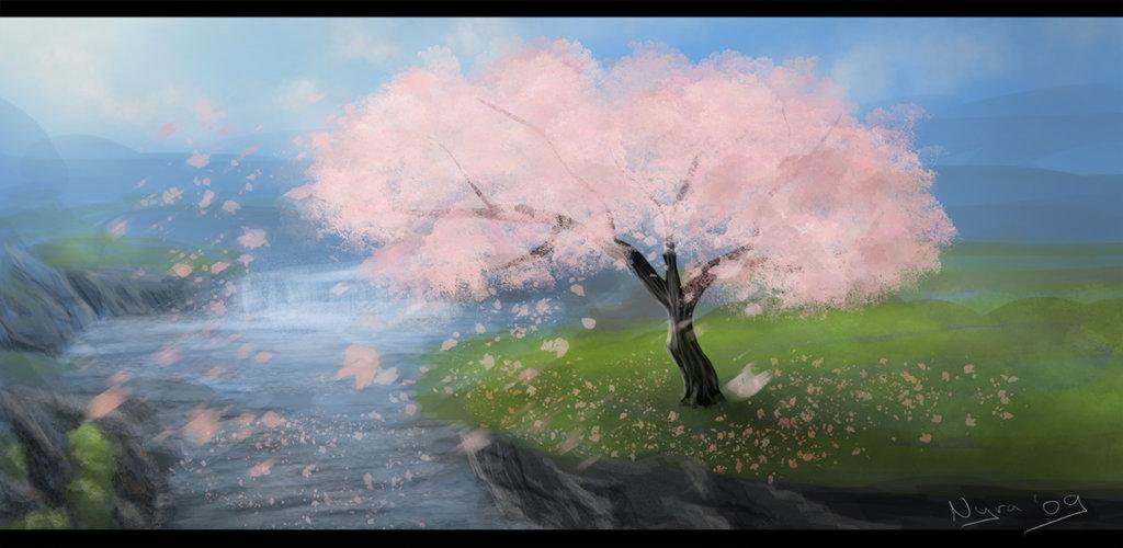 Drawn sakura blossom landscape Cherry Blossoms by Blossoms Flying