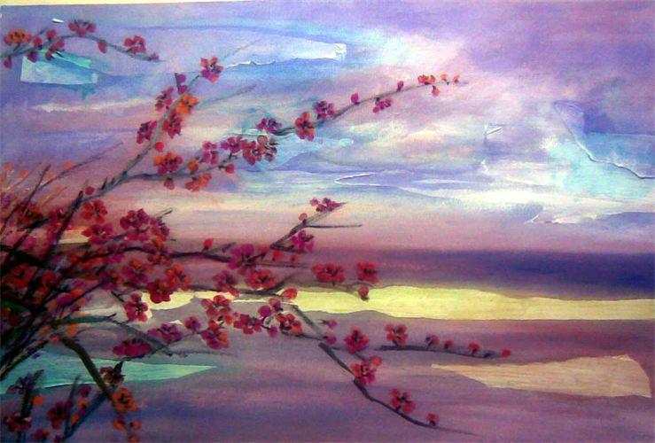 Drawn sakura blossom landscape Lihting Cherry Kostrzewa Li Lily