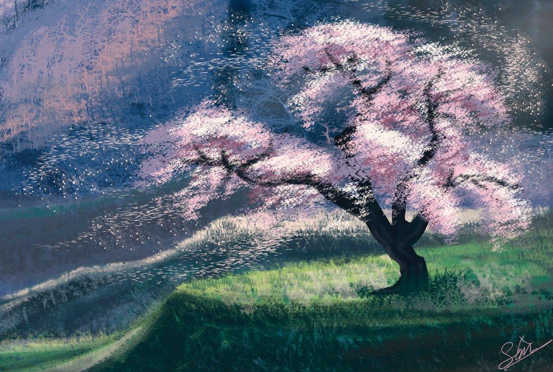 Drawn sakura blossom landscape Cherry Landscape Landscape Blossom Sonnet