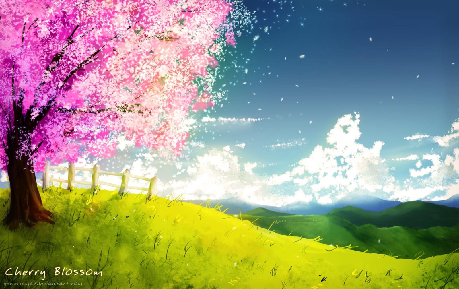 Drawn sakura blossom landscape By by Cherry GenericMav Blossom
