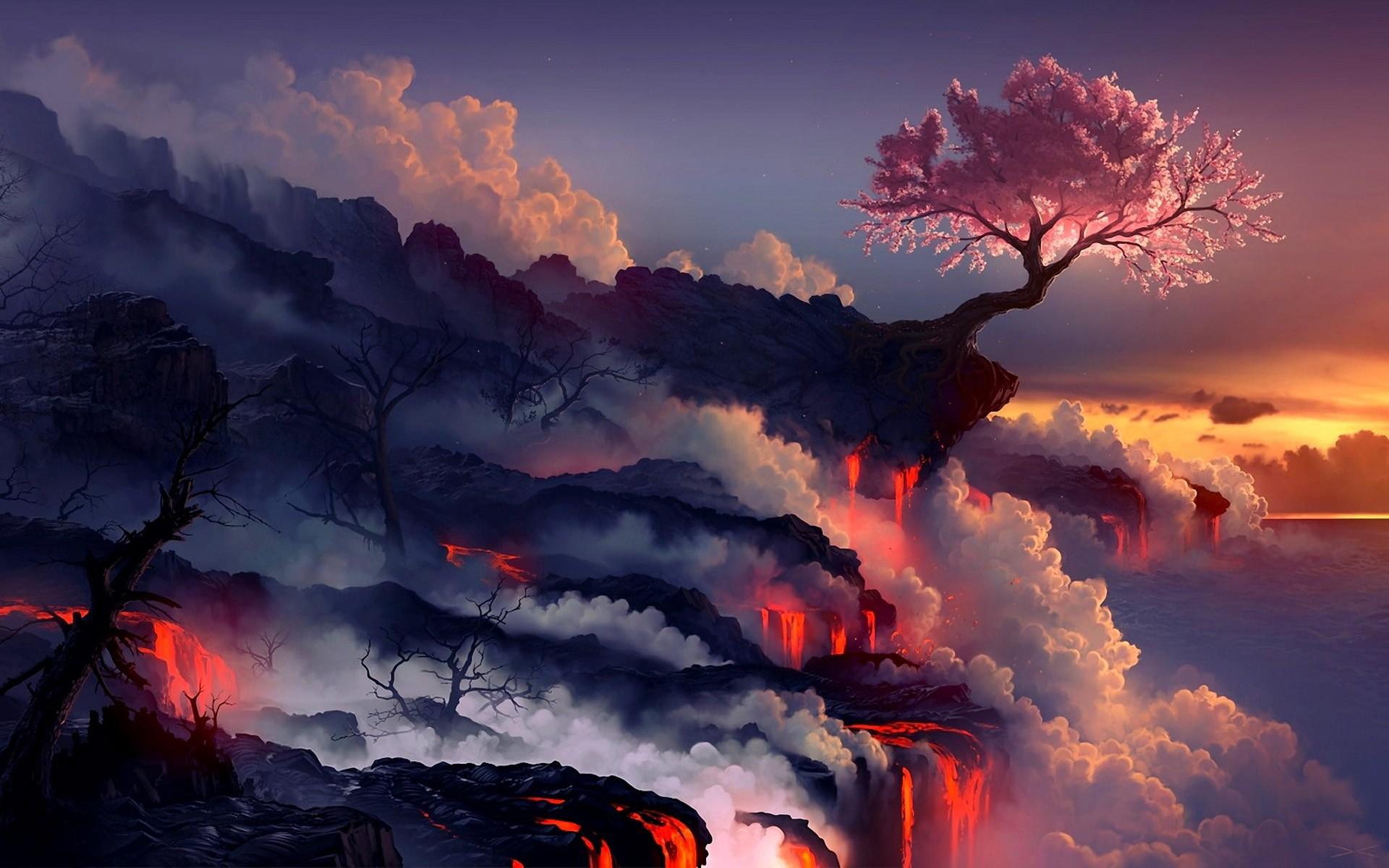 Drawn sakura blossom landscape Tree Tree wallpaper Drawing Blossom