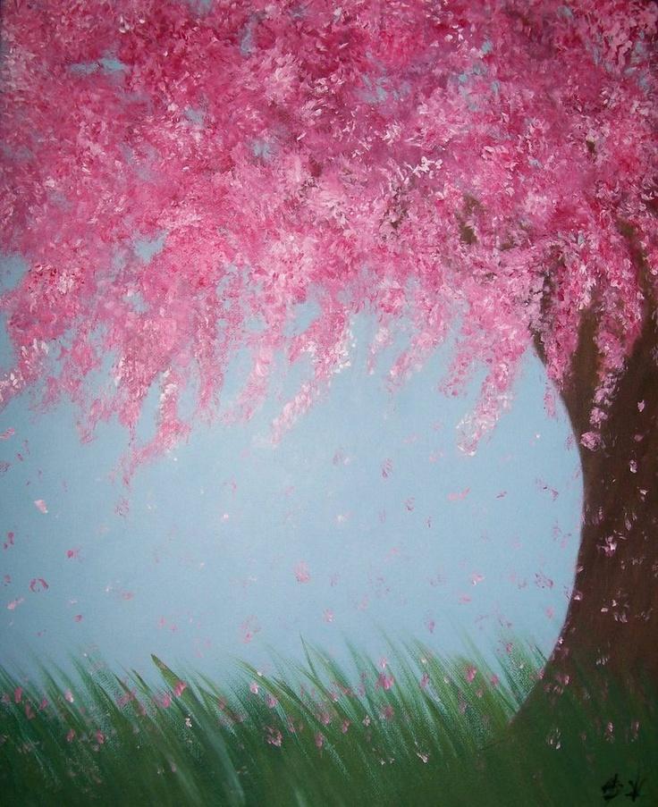 Drawn sakura blossom landscape Blossom painting images sketches Cherry