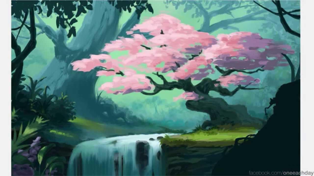 Drawn sakura blossom landscape YouTube Blossom iPad  Cherry