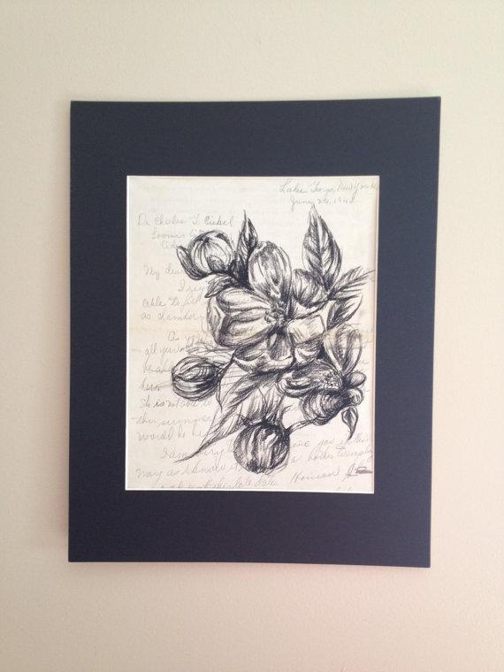 Drawn sakura blossom letter art Letter on NY  Charcoal