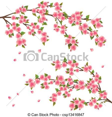 Drawn sakura blossom logo White Japanese tree white cherry