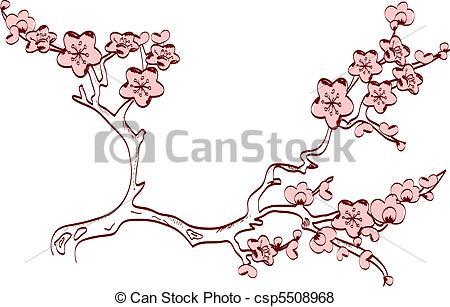 Drawn sakura blossom logo Cherry spring Vector blossom branch