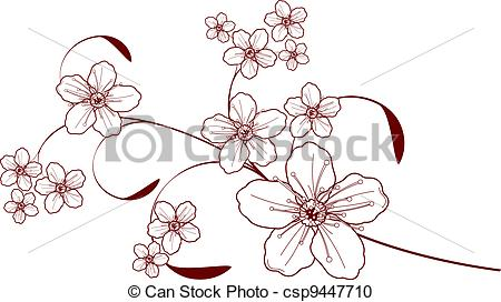 Drawn sakura blossom logo Design Vector of csp9447710 Cherry
