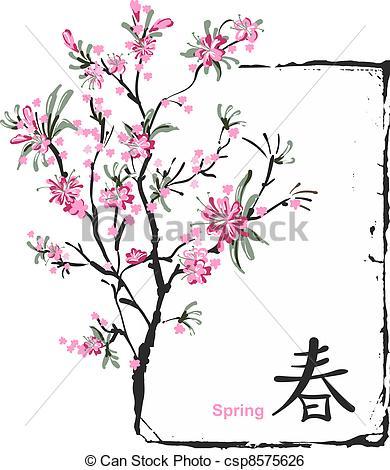 Drawn sakura blossom logo Csp8575626 Art of Clip flowers