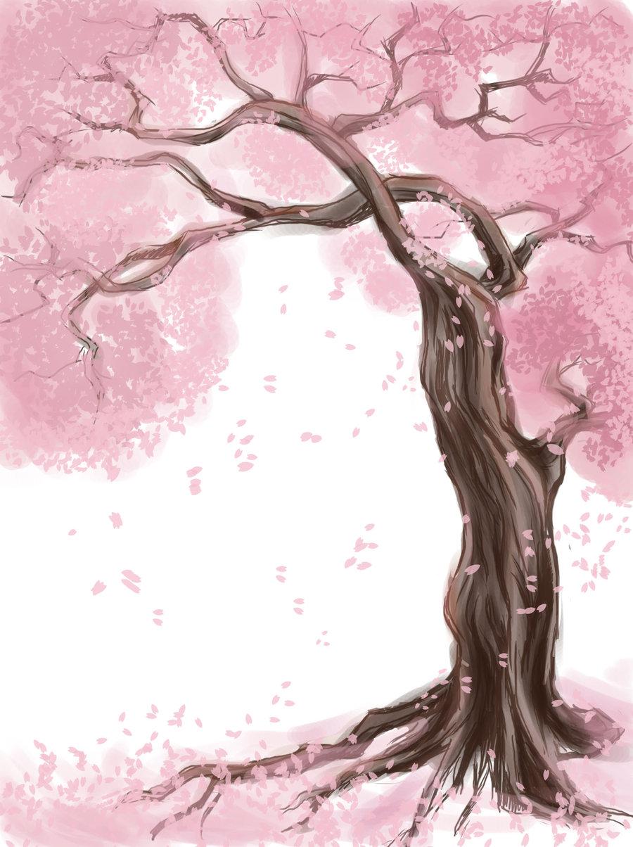 Drawn sakura blossom nice tree Coloring Version Sakura lightofunity Coloring