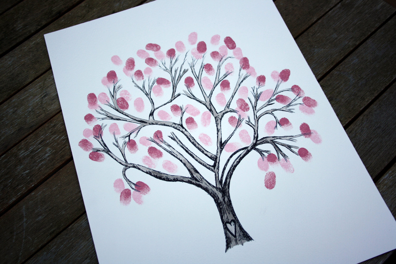 Drawn sakura blossom nice tree Personalised alternative Wedding TREE: book