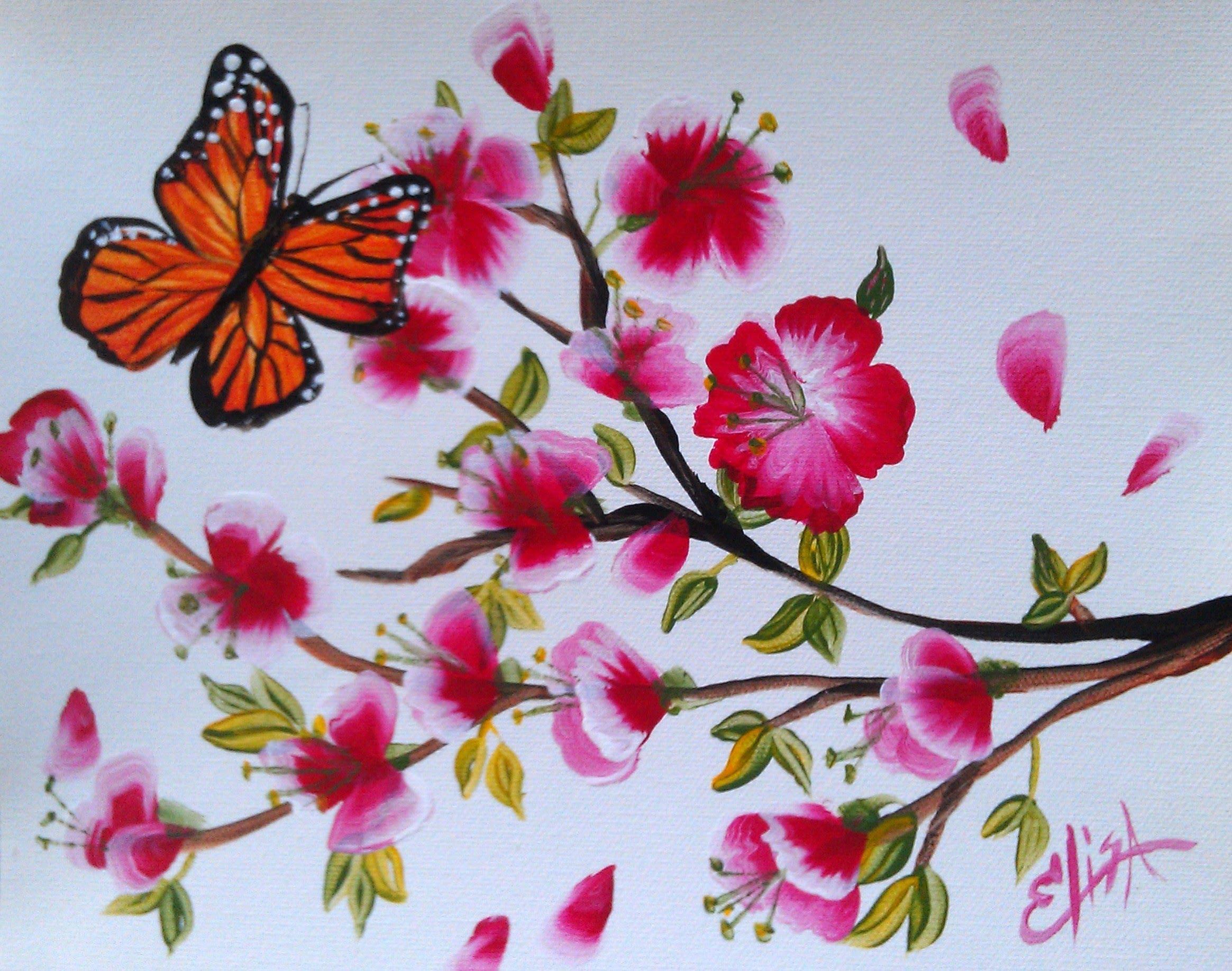 Drawn sakura blossom one stroke YouTube Art Blossoms