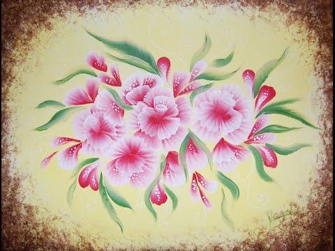 Drawn sakura blossom one stroke Pink Flowers Flowers (one 82