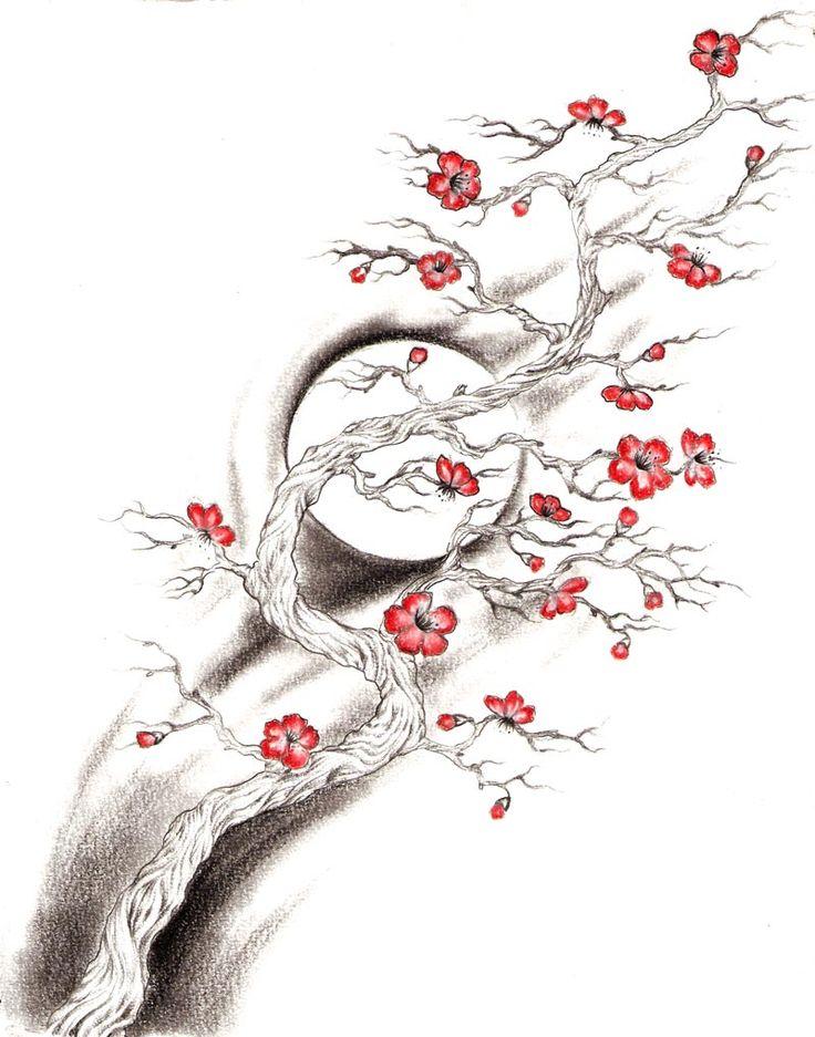 Drawn sakura blossom one stroke Google søk to 56 Pinterest