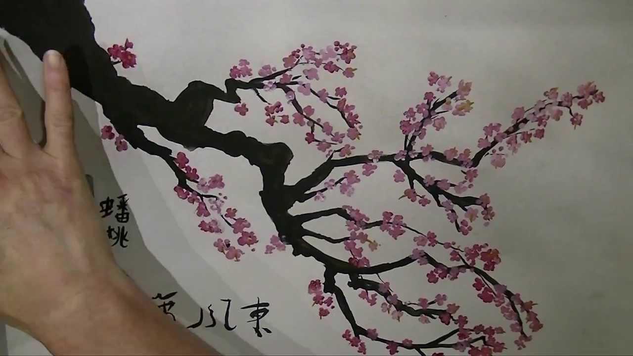 Drawn sakura blossom one stroke Cherry YouTube Brush Painting