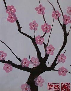 Drawn sakura blossom one stroke Three Blossom panels Blossom either
