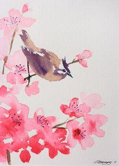 Drawn sakura blossom one stroke Painting Introduction 8 Blossom x