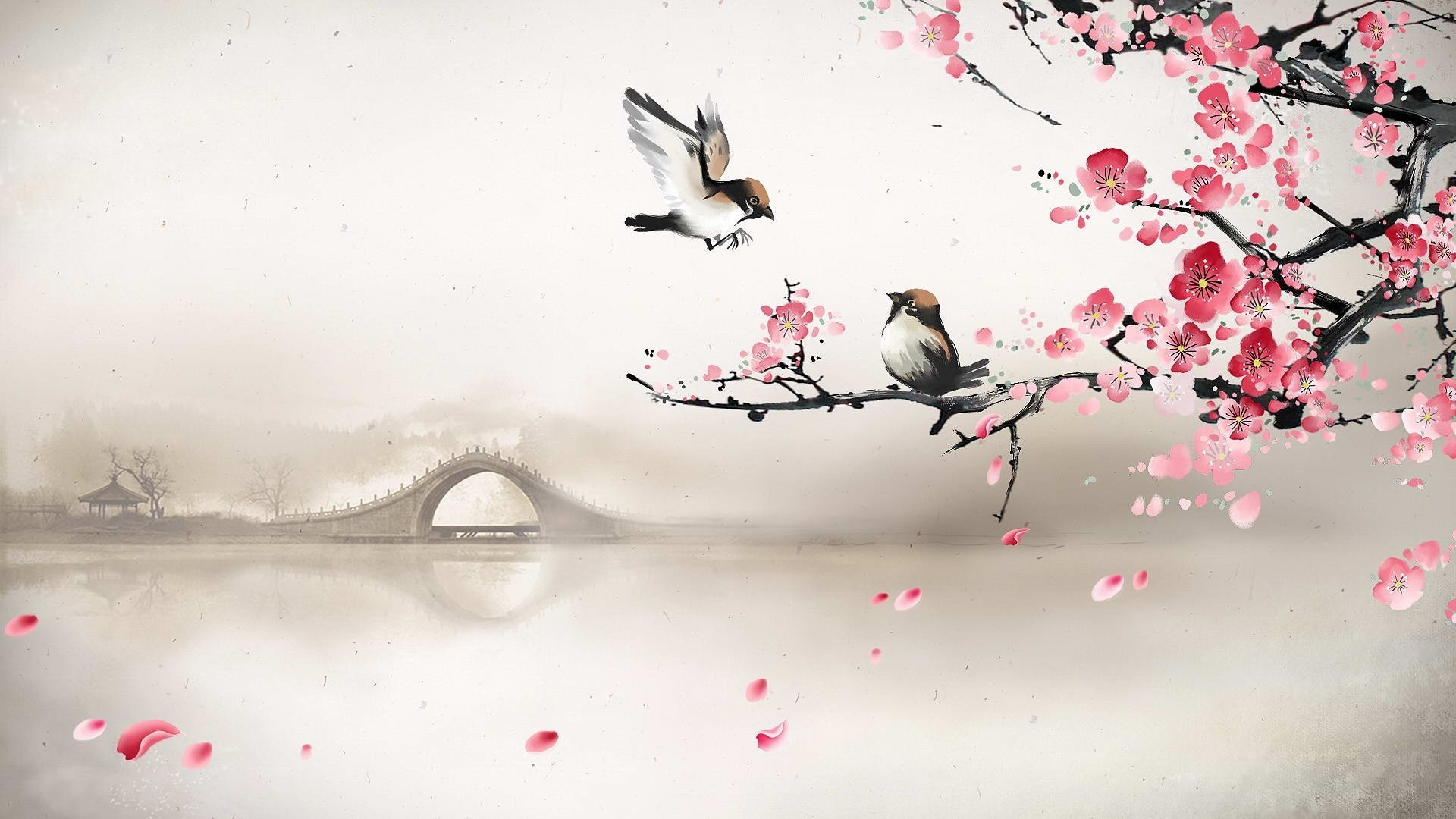 Drawn sakura blossom oriental арт весна разное река лепестки
