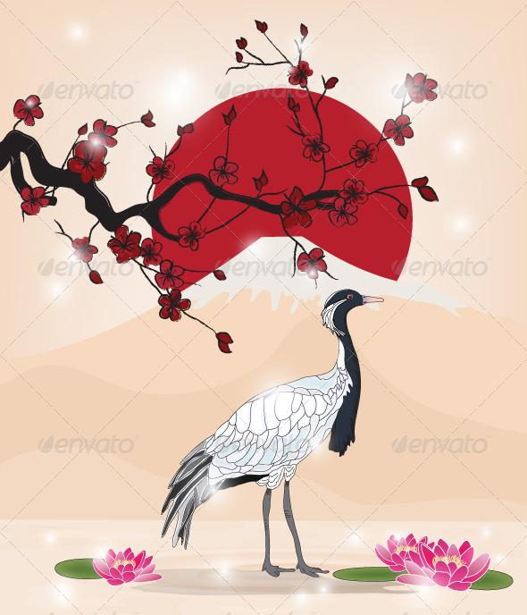 Drawn sakura blossom oriental Crane Oriental Cherry and Picture