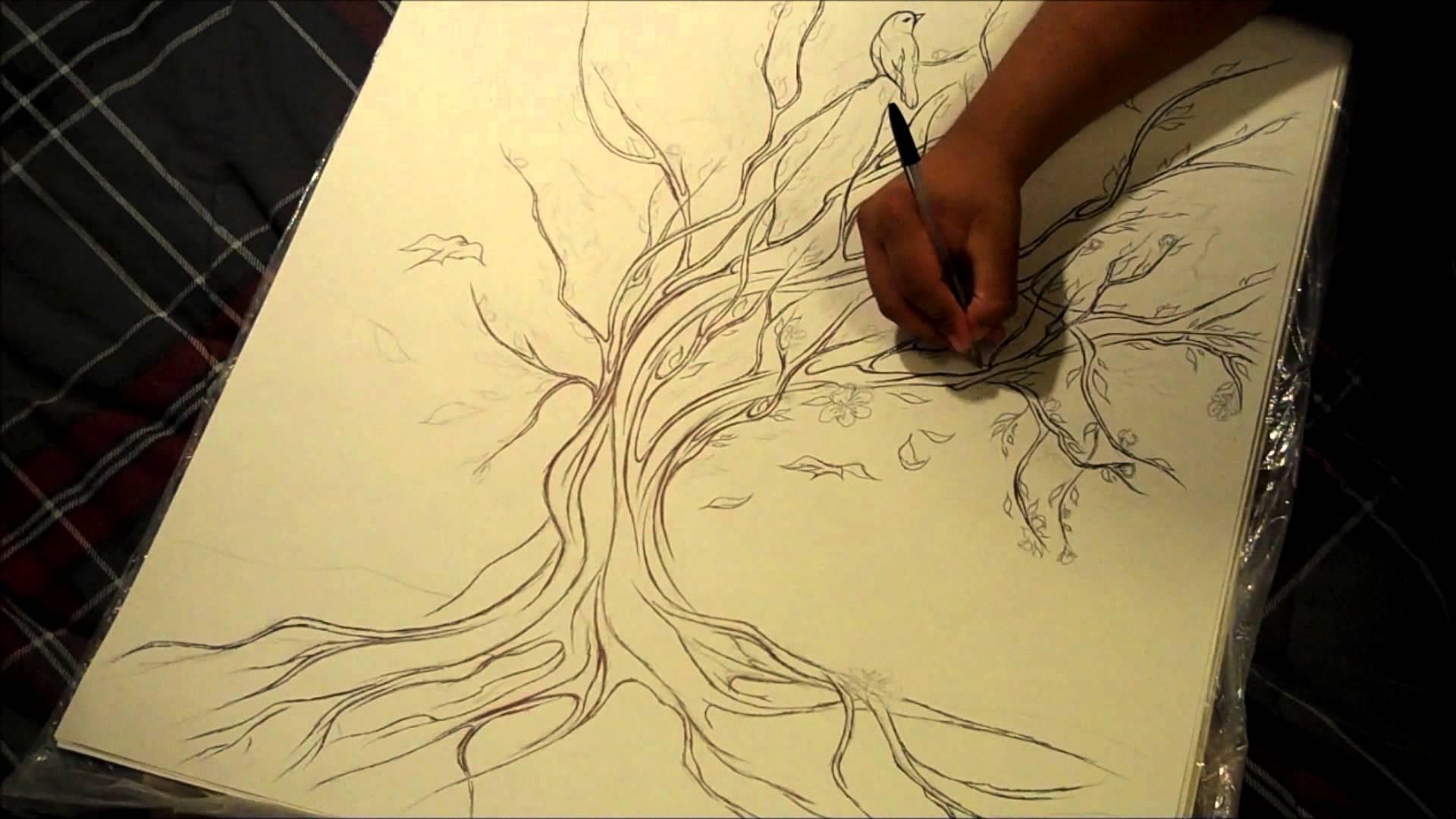 Drawn sakura blossom pencil drawing 2 YouTube Blossom Cherry
