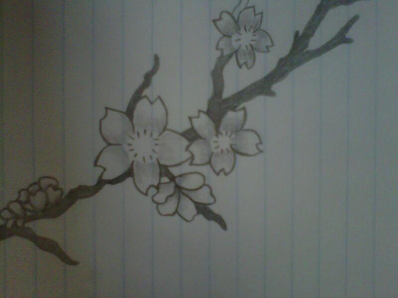 Drawn sakura blossom pencil drawing Art blossoms Cherry blossom Pinterest