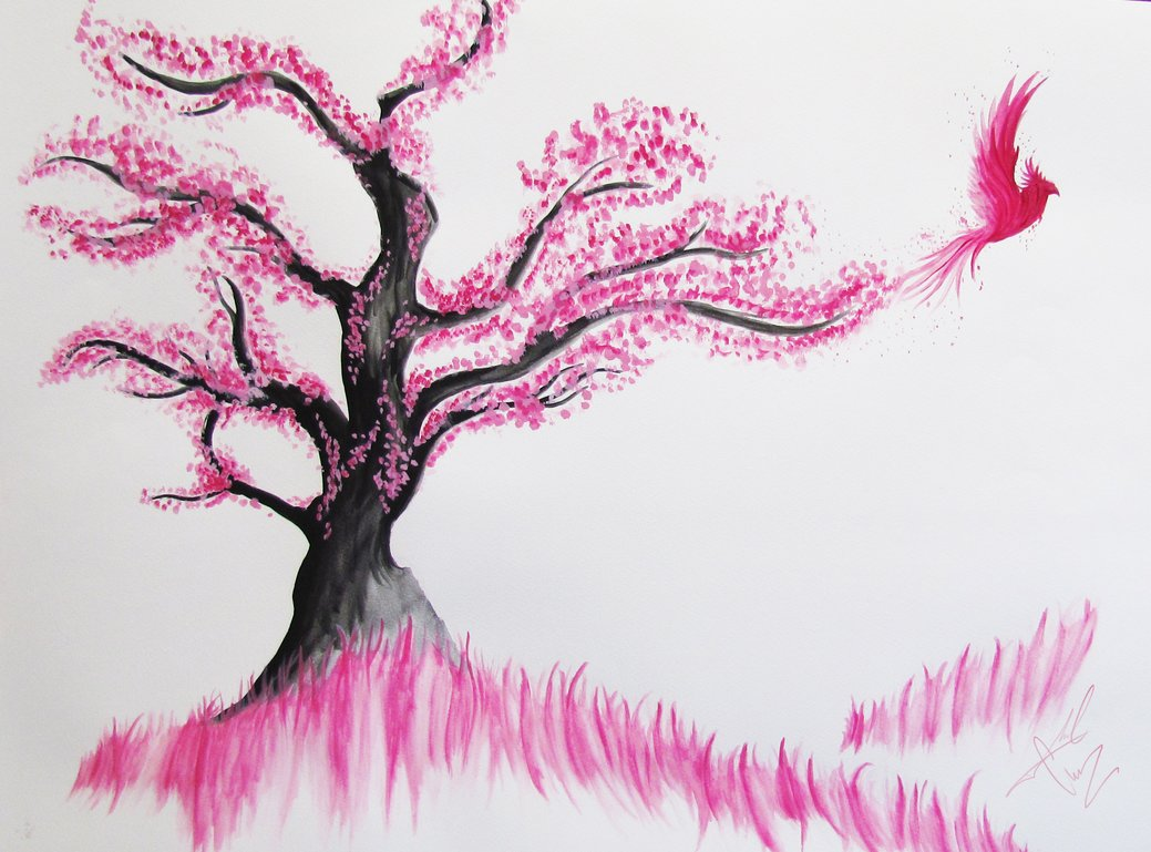Drawn sakura blossom pencil step by step On cherry 44 birds_in_the_cherry_blossom_tree_by_moralchaos Blossom