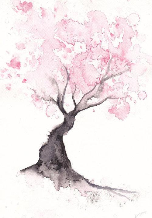 Drawn sakura blossom pinter Watercolor sakura Watercolor  Pinterest