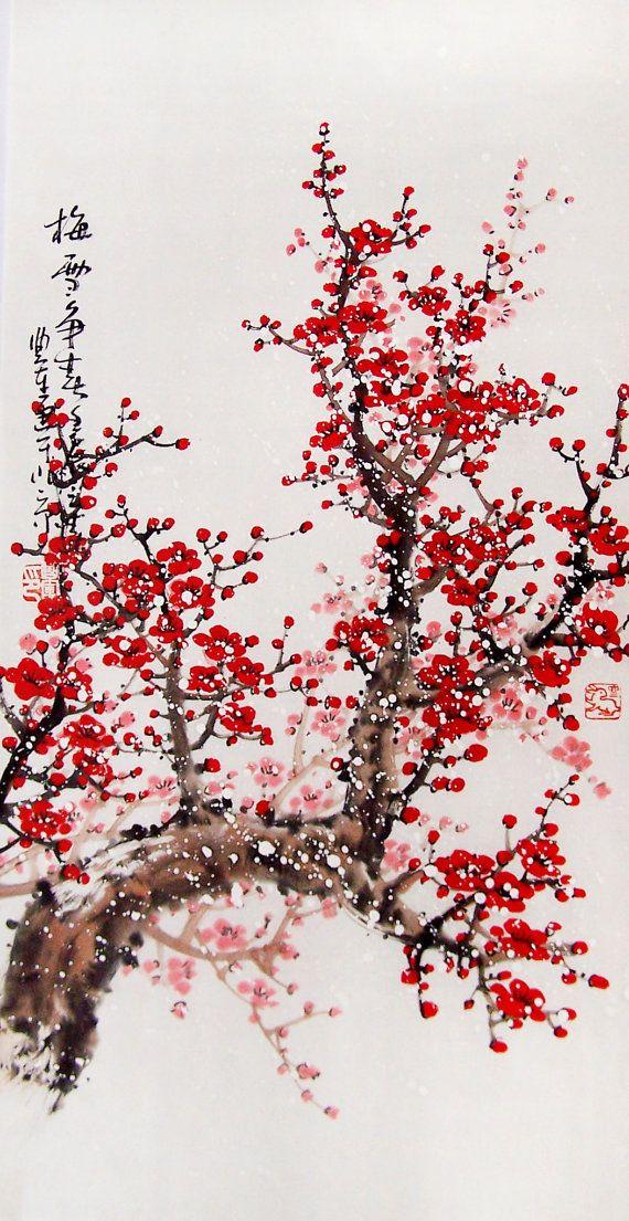 Drawn sakura blossom red Blossoms Pinterest Blossom trees Cherry