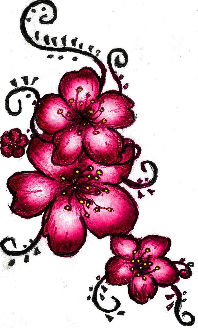 Drawn sakura blossom red Henna tattoo ~LSD by Flower