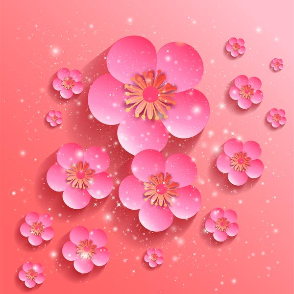 Drawn sakura blossom red Ai vector have drawing drawing