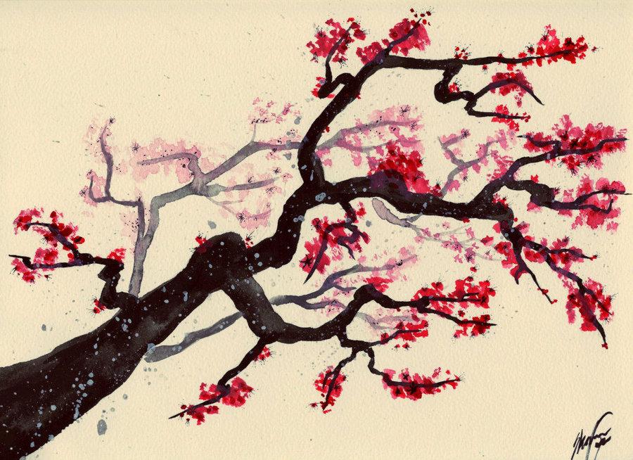 Drawn sakura blossom red Blossom Tree pacificwest23 by Cherry