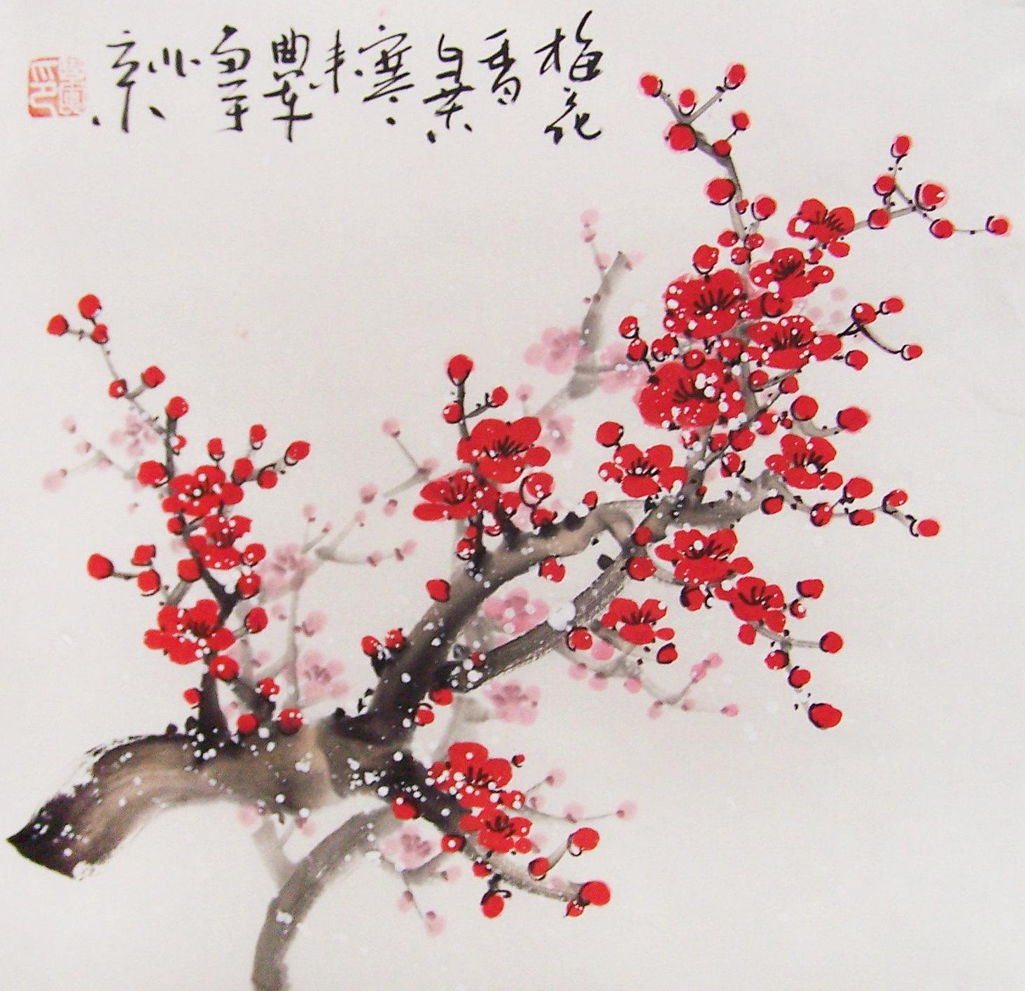 Drawn sakura blossom red Painting Blossom  oriental Cherry
