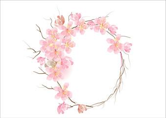 Drawn sakura blossom side view Vector background cherry frame flowers