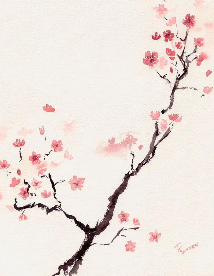Drawn sakura blossom side view Cherry 25+ 3 Blossom on