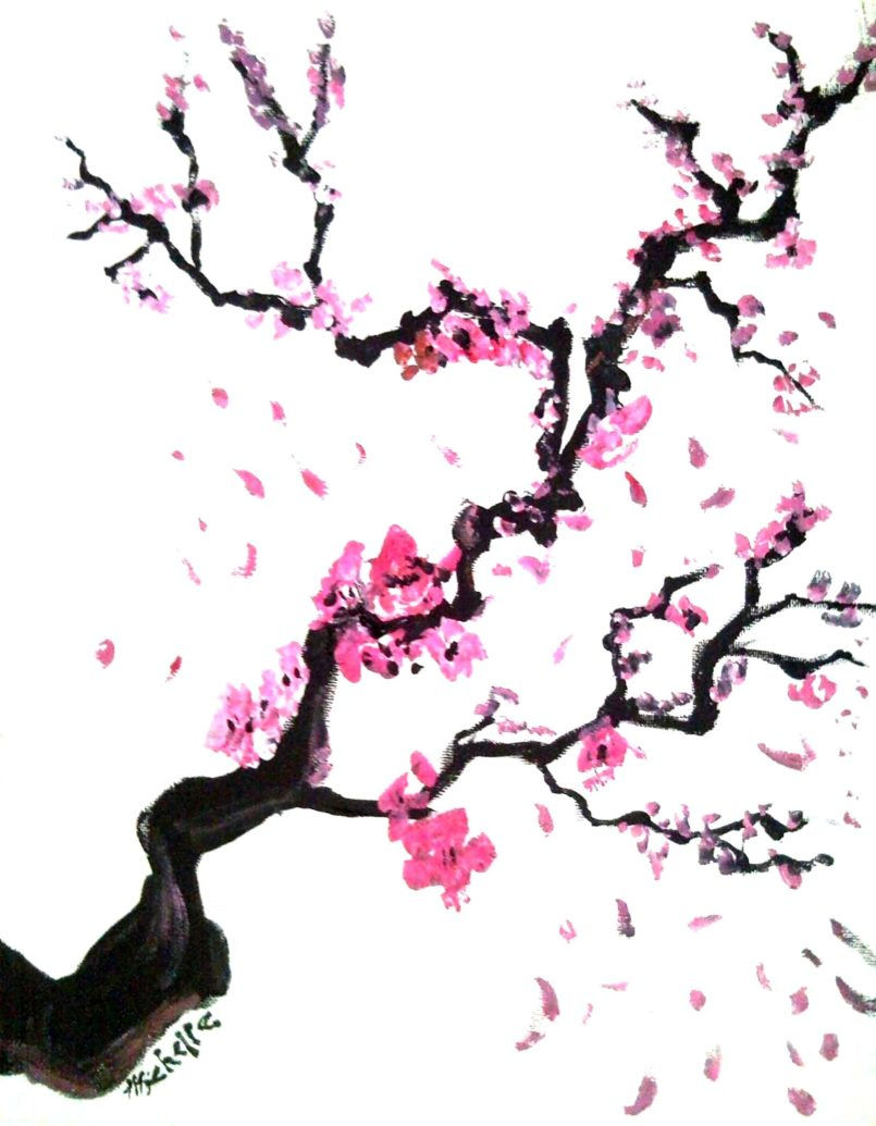 Drawn sakura blossom side view Pages Draw Cherry Coloring