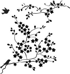 Drawn sakura blossom silhouette Branch Template by Crafters