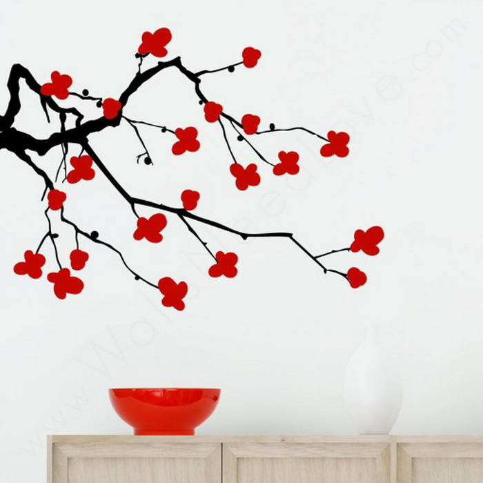 Drawn sakura blossom simple Cherry Wall Wall Ideas Mural