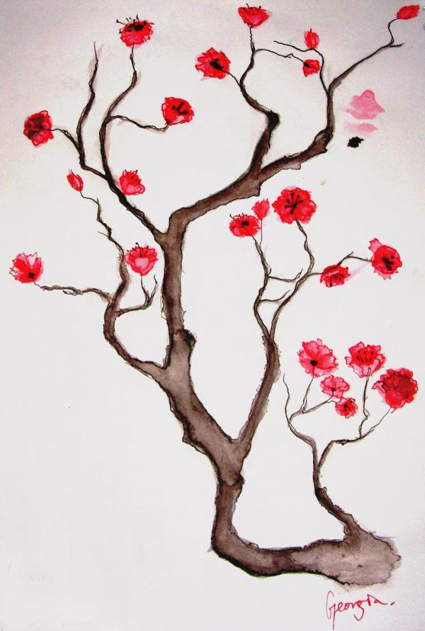 Drawn sakura blossom simple Simple Blossom Designs Drawing Images