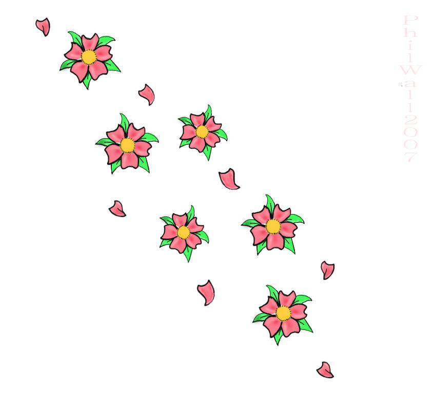 Drawn sakura blossom single Design Cherry Tattoos Cherry Blossom