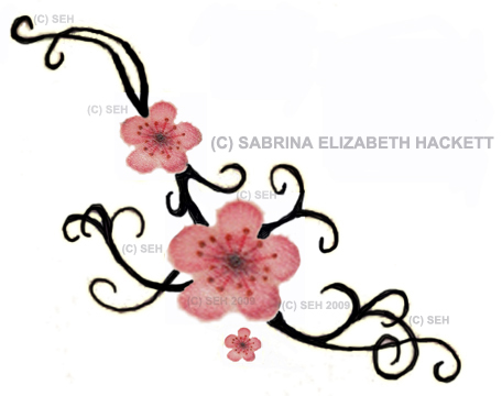 Drawn sakura blossom small flower Possible this pattern inked Pin