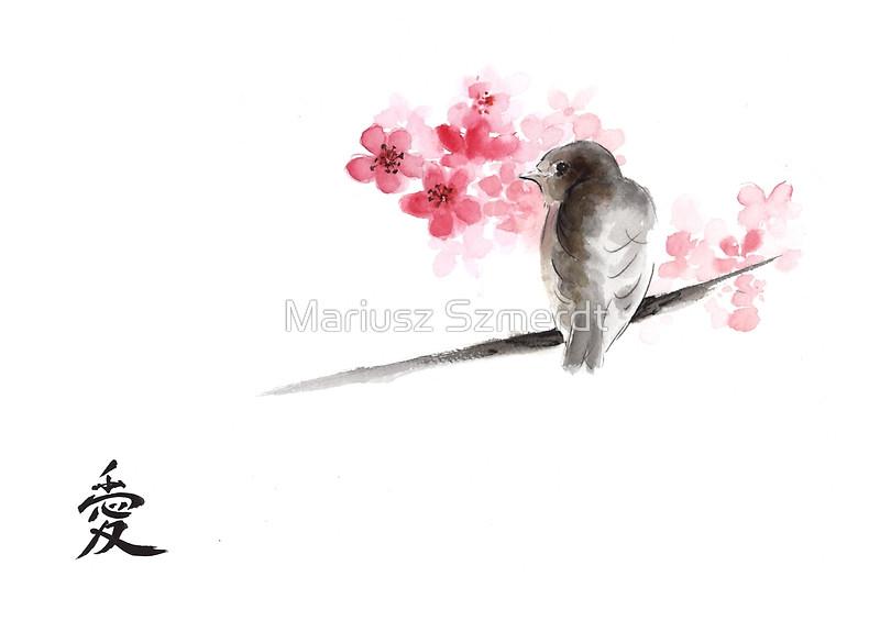 Drawn sakura blossom sparrows Bird on branches ink e