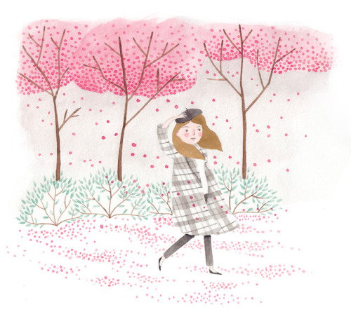 Drawn sakura blossom spring tree Cherry blossom blossom walk Tumblr