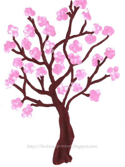 Drawn sakura blossom spring tree Fingerprint Tree Blossom Blossom Spring