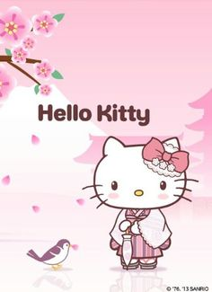 Drawn sakura blossom tokidoki  Kitty blanket and more