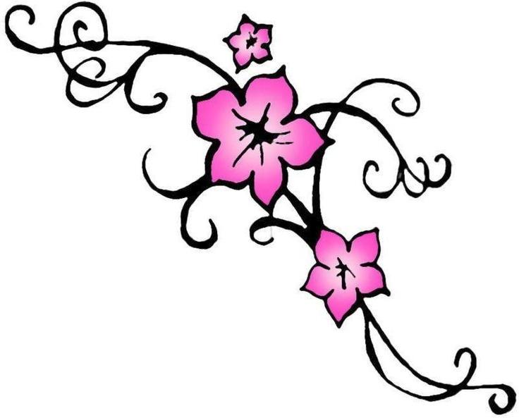 Drawn sakura blossom tribal Cherry tattoo blossom Tattoo tribal