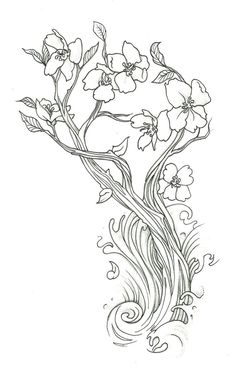 Drawn sakura blossom tribal Cherry Drawing Blossom & Cute