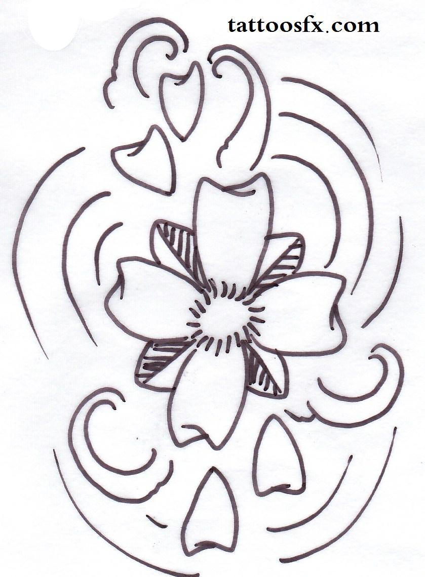 Drawn sakura blossom tribal Blossom cherry tattoo stencils cherry