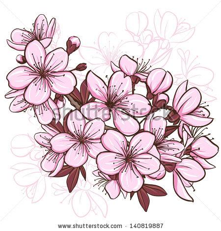 Drawn sakura blossom vector Of Elena AYLI Terletskaya Embellishing